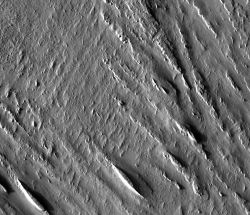 This image of the soft and easily eroded Medusae Fossae formation shows two yardang patterns. A prominent one runs from upper left (northwest) to lower right (southeast). But a closer look reveals a nearly vanished set of yardangs almost at right angles to the main pattern. (NASA/JPL-Caltech/Arizona State University)