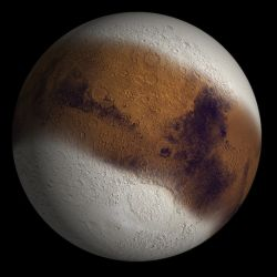 This illustration shows Mars as it might have appeared at the height of an ice age. During a period about 2.1 million to 400,000 years ago, increased tilt of Mars' rotational axis caused increased solar heating at the poles. This polar warming moved water vapor and dust into the atmosphere and built up ice and dust down to about 30° latitude in both hemispheres.This ice-rich surface deposit has been diminishing the latitude zone of 30° to 60° as water ice returns to the poles. (NASA/JPL/Brown University)